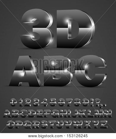 3D alphabet vector shiny black metal or glass style font with alphabet letters and numbers