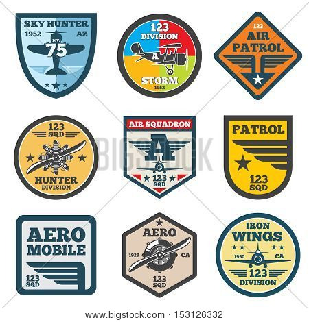 Army jet, aviation, air force vector labels, patch badges, emblems and logos set. Badge shield with wing illustration