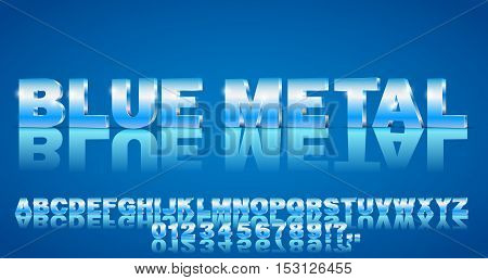 3D alphabet vector Blue colored font with alphabet letters and numbers