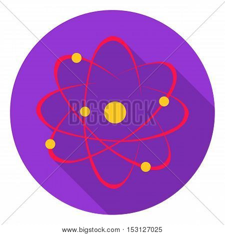 Atom icon in flat style isolated on white background. School symbol vector illustration.