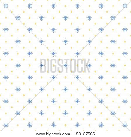 Seamless geometric vector pattern. Modern ornament with blue and golden elements