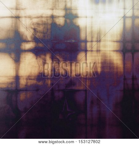 Abstract vintage background with grunge effects, ragged elements, and different color patterns: yellow (beige); brown; gray; blue; purple (violet); black