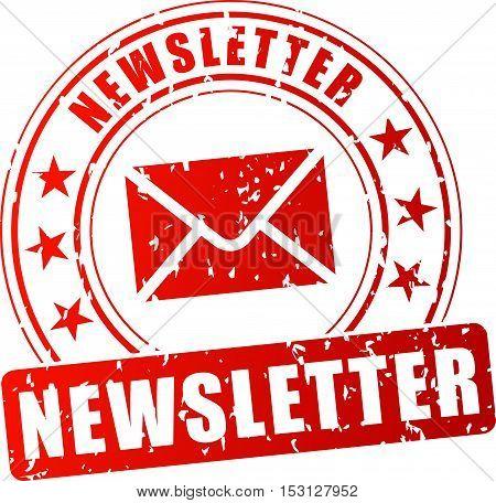 Illustration of newsletter red stamp on white background