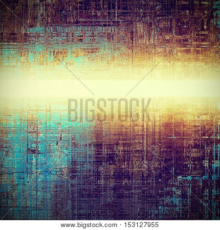 Retro style background with grungy vintage texture and different color patterns: yellow (beige); brown; blue; purple (violet); pink