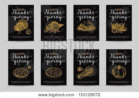 Vector hand drawn thanksgiving cards set. Vintage style illustration. Retro food background. Sketch. Template design.