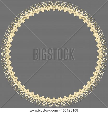 Oriental vector golden round frame with arabesques and floral elements. Floral fine border. Greeting card with place for text