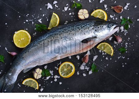 Fresh raw salmon with salt and lemon on a black background. Top view.