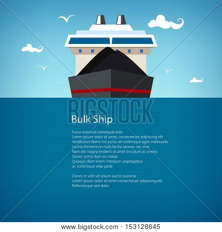 Front View of the Dry Cargo Ship, Industrial Marine Vessel is Transporting Coal and Ore International Freight Transportation, Poster Brochure Flyer Design, Vector Illustration