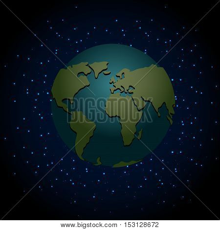 Earth Night. Nighttime Planet In Space. Lot Of Stars In Galaxy. Astronomy Illustration