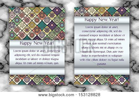 Christmas And New Year Vintage Greeting Card. Tile Mosaic Snowflake Background. Vector Illustration