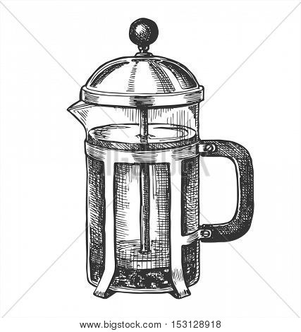 Hand drawn french press for making coffee and tea