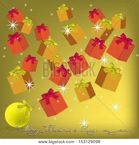 Christmas and New Year background with gifts and bows