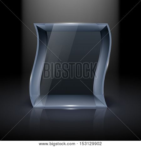 Empty Glass Showcase in Wave Form for Presentation on Black Background