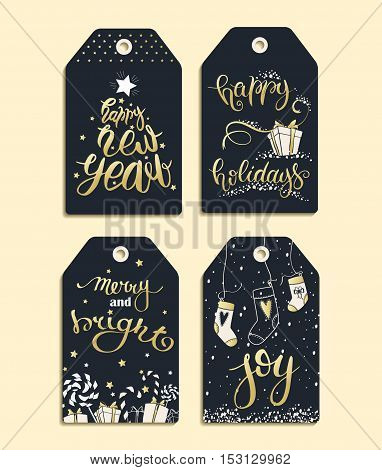 Celebration concept - Vector set of templates for Christmas and New Year. Christmas labels made in black white and gold colors for your text.