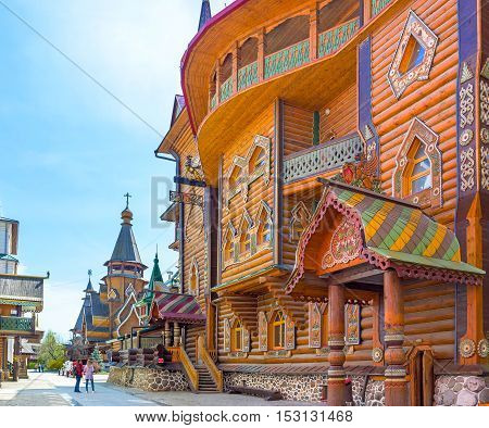MOSCOW RUSSIA - MAY 10 2015: The splendor of traditional medieval Russian Architecture with various decors carved and painted details on May 10 in Moscow.