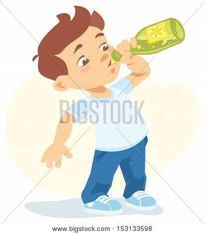 cartoon illustration of boy drinking soft drink