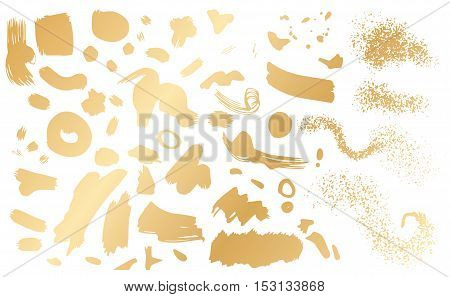 Set of brush strokes, hand drawn sketchy elements. Painted shapes. Ink, Spray. Vector stains gold on white