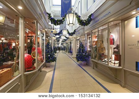 LONDON UNITED KINGDOM - NOVEMBER 20: Christmas Decoration at Princess Arcade in London on NOVEMBER 20 2013. Princess Arcade is a Boutique Shopping Centre at Piccadilly Street in London United Kingdom.