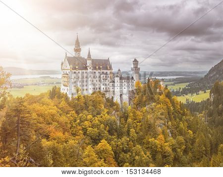 An image of the famous castle Neuschwanstein in Bavaria Germany