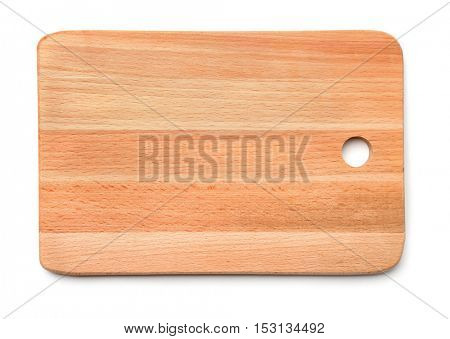 Top view of new wooden cutting board isolated on white