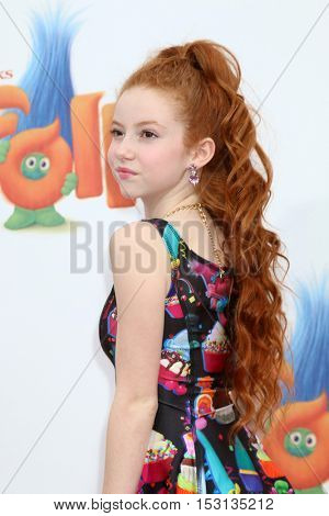 LOS ANGELES - OCT 23:  Francesca Capaldi at the Trolls Premiere at Village Theater on October 23, 2016 in Westwood, CA