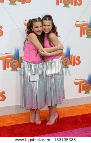 LOS ANGELES - OCT 23:  Chiara D'Ambrosio, Bianca D'Ambrosio at the Trolls Premiere at Village Theater on October 23, 2016 in Westwood, CA