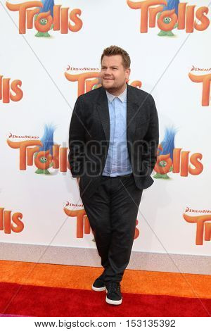 LOS ANGELES - OCT 23:  James Corden at the Trolls Premiere at Village Theater on October 23, 2016 in Westwood, CA