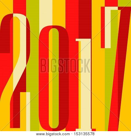 Vector 2017 Happy New Year background. calendar cover, typographic vector illustration. Flat colorful design