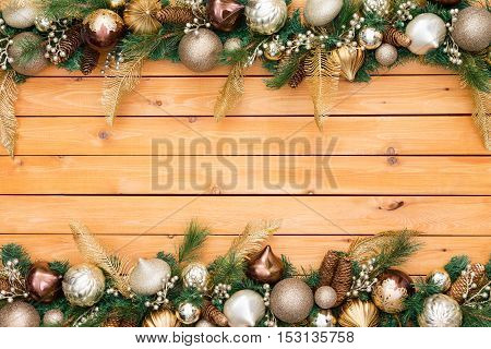 Festive Holiday Ornament And Pine Garland Border