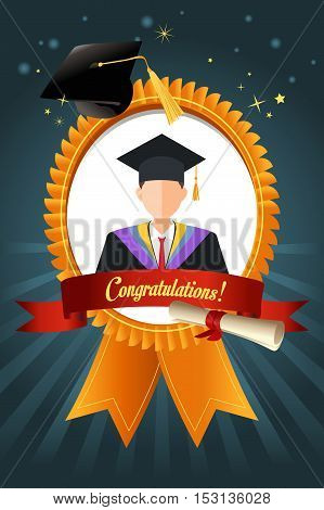 A vector illustration of Graduation Student Ribbon