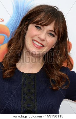 LOS ANGELES - OCT 23:  Zooey Deschanel at the Trolls Premiere at Village Theater on October 23, 2016 in Westwood, CA