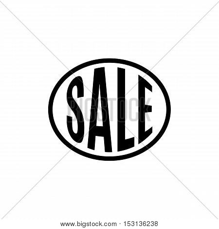 Isolated abstract black color word sale in a circle logo. Shopping center element on the white background. Bold font word. Discount banner. Vector illustration