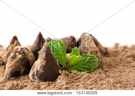 Homemade chocolate truffles and mint isolated on white background