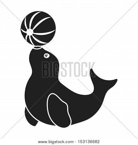 Trained fur seal icon in black style isolated on white background. Circus symbol vector illustration.