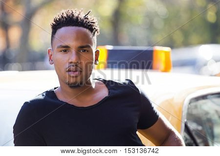 Portrait of a young afro american man in New York