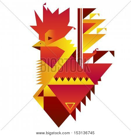 abstract cock symbol of 2017 by the Chinese calendar
