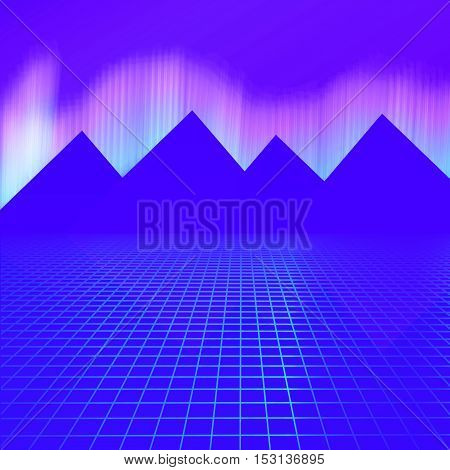 Mountains On A Background Of Neon Lights