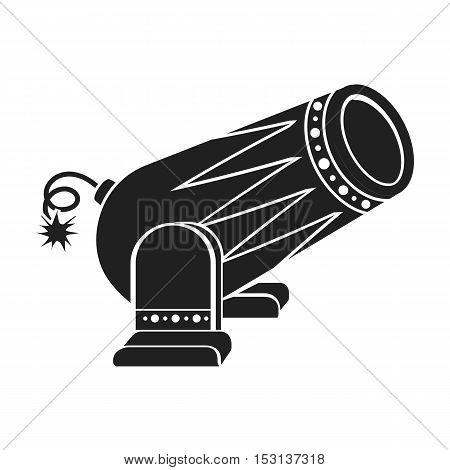 Circus cannon icon in black style isolated on white background. Circus symbol vector illustration.