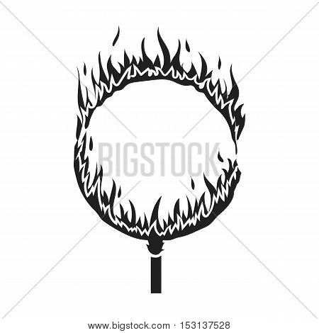 Burning hoop icon in black style isolated on white background. Circus symbol vector illustration.