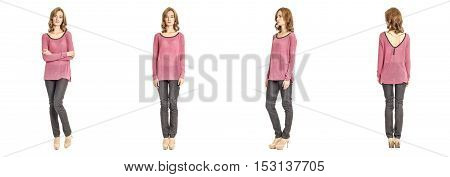 Skinny Brunette Fashion Model In Pink Blouse Isolated On White