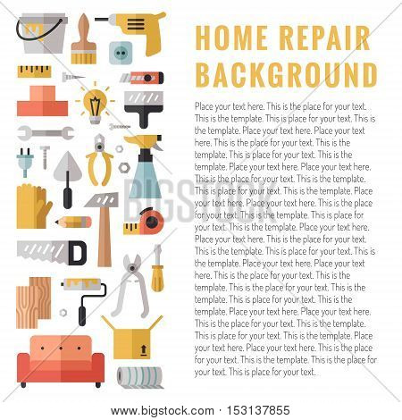 Home repair and construction multicolored flat vertical vector illustration with place for your text.
