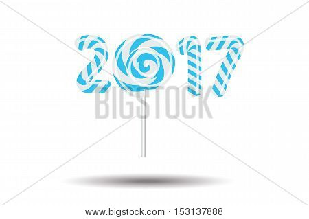 New Year 2017 in shape of candy stick isolated on white.Vector illustration