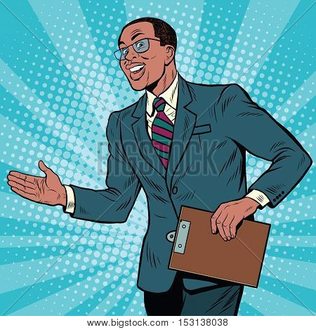 Friendly African American businessman, pop art retro illustration.