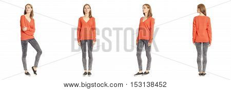 Skinny Brunette Fashion Model In Coral Blouse Isolated On White