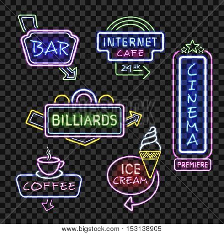 Neon  internet cafe bar and cinema  signboards at night realistic icons set transparent background isolated vector illustration