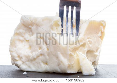 Breaking Semisoft Crumbly Feta With A Fork