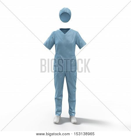 Surgical clothes for woman on white background. No people. 3D illustration