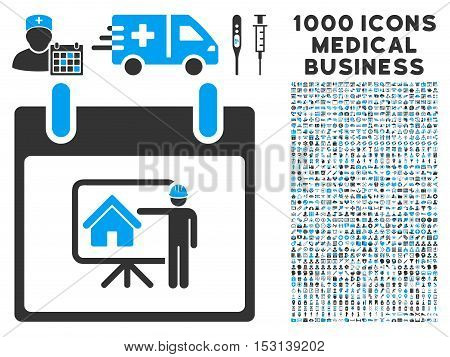 Blue And Gray Realty Developer Calendar Day glyph icon with 1000 medical business pictograms. Set style is flat bicolor symbols, blue and gray colors, white background.