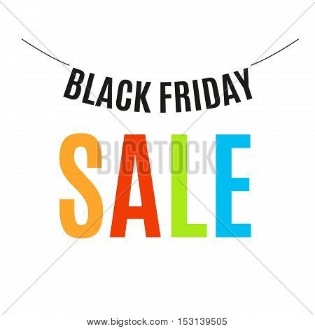 Isolated colorful black friday announcement logo. Shopping mall discount logotype. Vector black friday poster illustration. Holiday background and sale design banner. Template with shopping tag