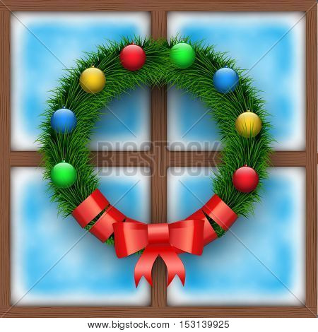 Frosted window with Christmas wreath. Merry Christmas Holiday card. Square wooden window. Vector Illustration Isolated on background